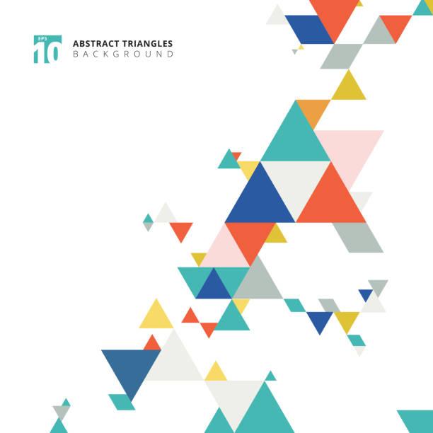stockillustraties, clipart, cartoons en iconen met abstracte moderne kleurrijke driehoeken patroon elementen op witte achtergrond met kopie ruimte. - driehoek