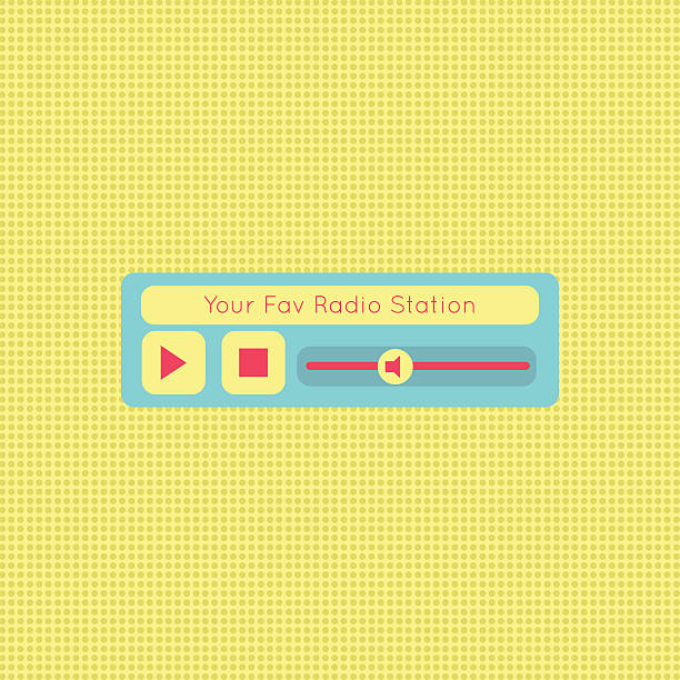 Abstract modern flat audio radio player interface for web vector art illustration