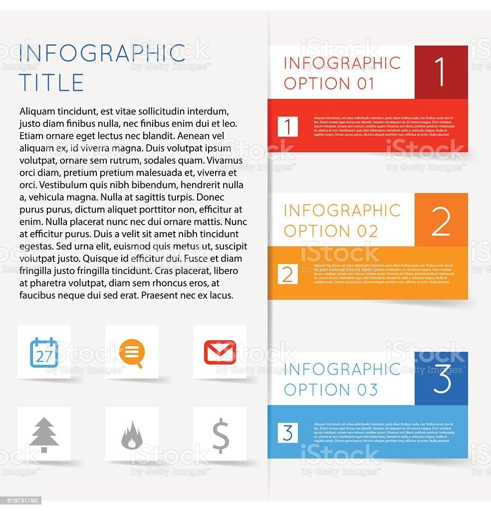 Abstract modern flat infographics options banner steps vector art illustration
