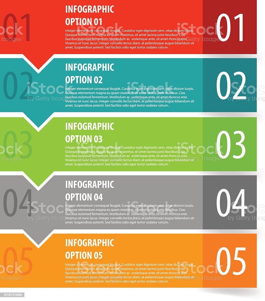 Abstract modern flat infographics options banner steps. vector art illustration