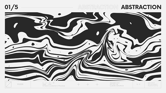 Abstract modern geometric banner with simple shapes in black and white colors, graphic composition design vector background, flowing paint stains, monochrome gasoline streaks or marble pattern