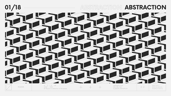 Abstract modern geometric banner with simple shapes in black and white colors, graphic composition design vector background, modular pattern of 3d rounded rectangles, rhythmic postmodern illustration