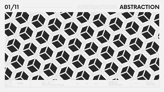 Abstract modern geometric banner with simple shapes in black and white colors, graphic composition design vector background, pattern 3d cubes of square modules