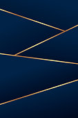 Background for business card or presentation with golden lines and blue gradient.