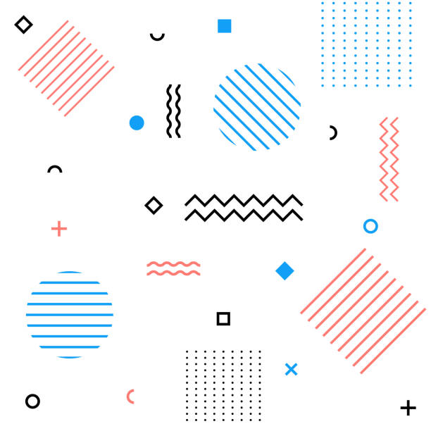 Abstract modern geometric retro background vector art illustration