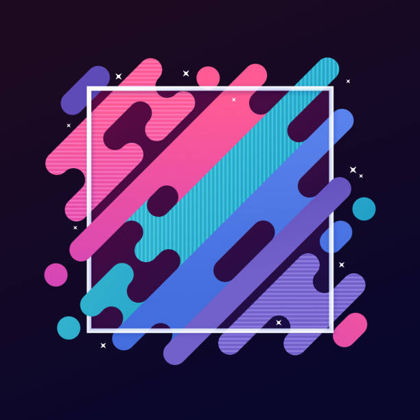 Abstract Modern Gradient Frame Abstract modern gradient blob lines diagonal frame. changing form stock illustrations