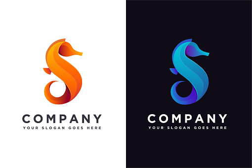 Abstract modern letter S for sea horse icon vector illustration