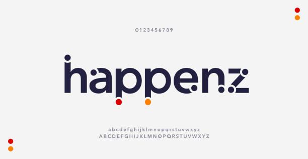 ilustraciones, imágenes clip art, dibujos animados e iconos de stock de fuentes abstractas modernas del alfabeto minimalista. tipografía estilo urbano para la diversión, deporte, tecnología, moda, digital, futura fuente de logotipo creativo. ilustración vectorial - font