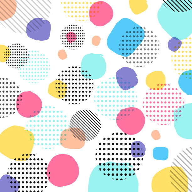 ilustrações de stock, clip art, desenhos animados e ícones de abstract modern pastels color, black dots pattern with lines diagonally on white background. - divertimento