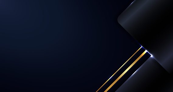 Abstract modern template blue metallic geometric on dark background with gold border line and lighting