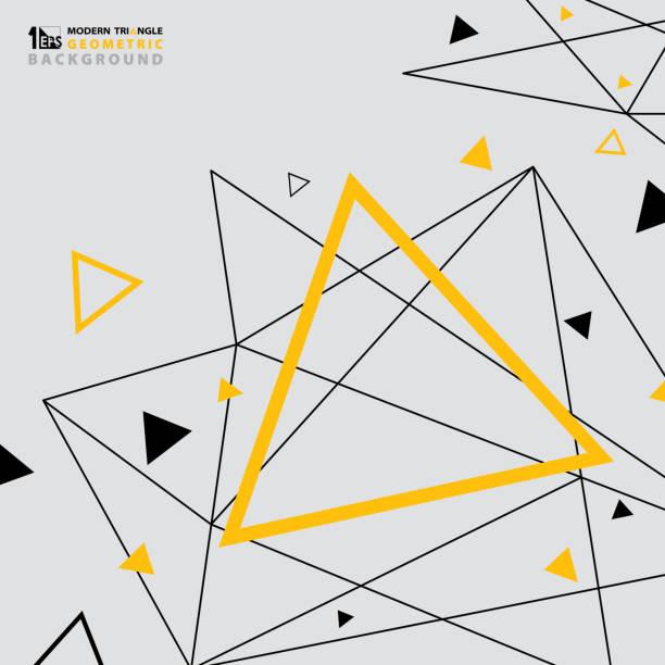 stockillustraties, clipart, cartoons en iconen met abstracte moderne driehoek patroon ontwerp van futuristische achtergrond geel zwart. - driehoek