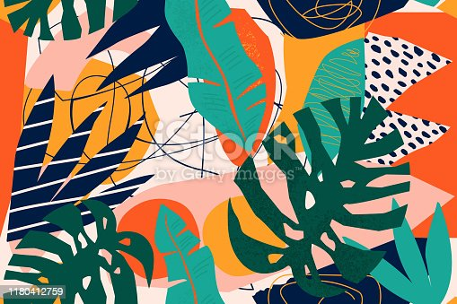 Abstract modern tropical paradise collage with various of fruits, exotic plants and geometrical shapes seamless pattern. Contemporary floral illustration for fabric design.