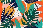 istock Abstract modern tropical paradise collage with various of fruits, exotic plants and geometrical shapes seamless pattern. Contemporary floral illustration for fabric design. 1180412759