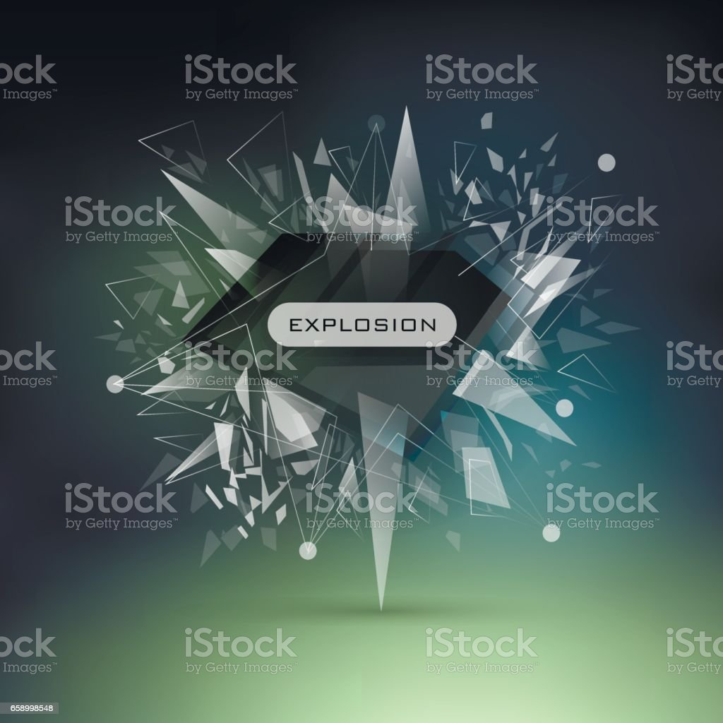 Abstract modern vector explosion banner. White triangles, lines, points on dark mesh background. royalty-free abstract modern vector explosion banner white triangles lines points on dark mesh background stock vector art & more images of abstract