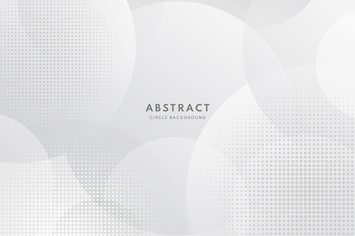 Abstract modern white and gray circle overlapping with halftone background. Minimal style Design. for presentation,banner, cover, web, flyer, card, poster, wallpaper,slide, magazine.