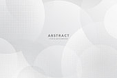 istock Abstract modern white and gray circle overlapping with halftone background. Minimal style Design. for presentation,banner, cover, web, flyer, card, poster, wallpaper,slide, magazine. 1275834619