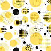 Abstract modern yellow, black dots pattern with lines diagonally on white background.