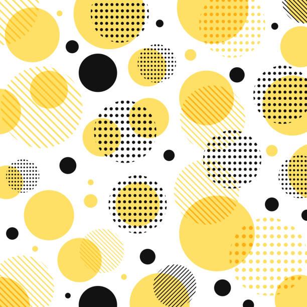흰색 배경에 대각선 라인 추상적인 현대 노랑, 블랙 도트 패턴입니다. - 노랑 stock illustrations