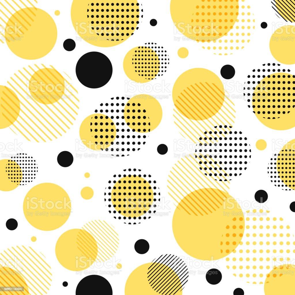 白い背景に斜めに線が抽象モダンな黄色、黒のドットのパターン。 ベクターアートイラスト