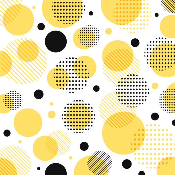 abstract modern yellow, black dots pattern with lines diagonally on white background. - yellow stock illustrations