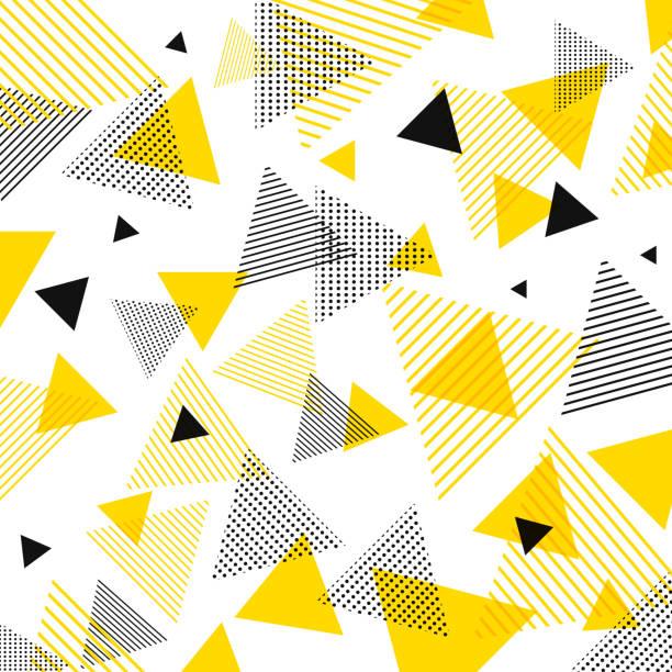 stockillustraties, clipart, cartoons en iconen met abstracte moderne gele, zwarte driehoeken patroon met lijnen diagonaal op witte achtergrond. - driehoek