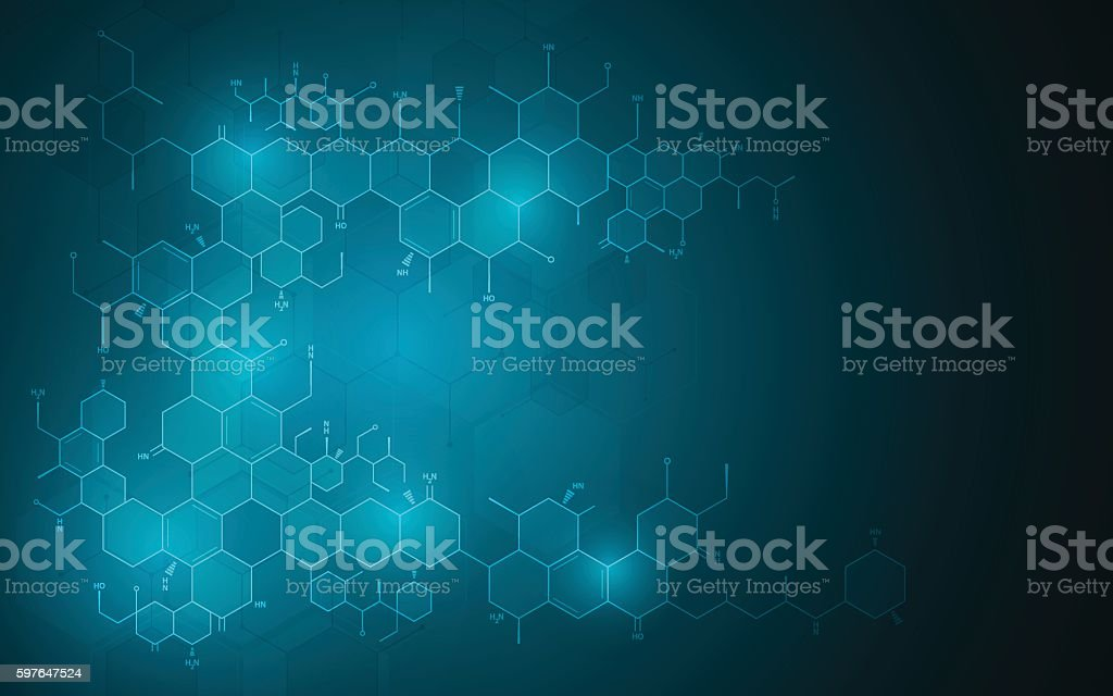 abstract molecular chemistry science technology innovation design concept background - illustrazione arte vettoriale
