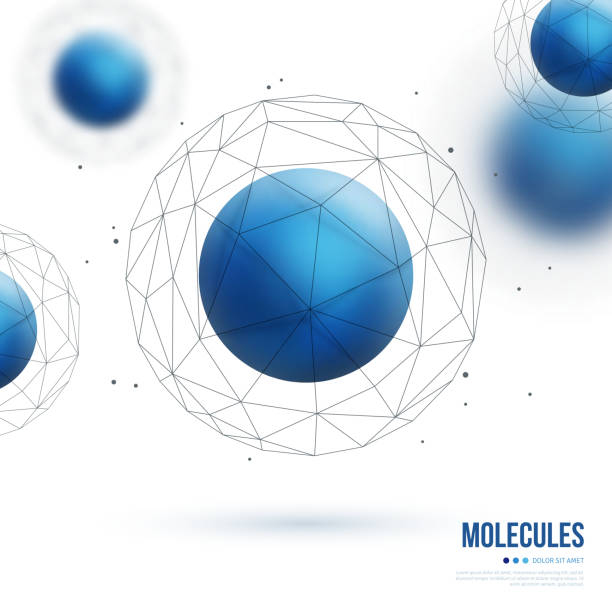 Abstract molecular structure with blue particle Abstract molecular structure with blue particles and wireframe mesh. Vector illustration. Scientific nanotechnology background. nanoparticle stock illustrations