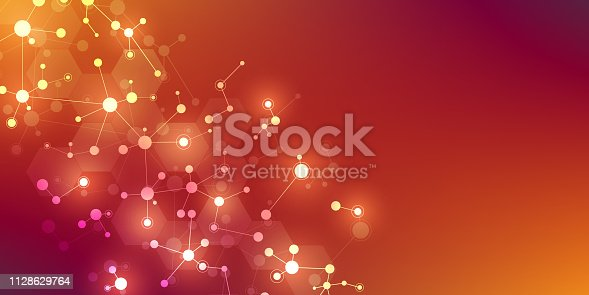 Abstract background for medical, scientific and technological design. Abstract geometric texture with molecular structures and neural network. Molecules DNA and genetic research