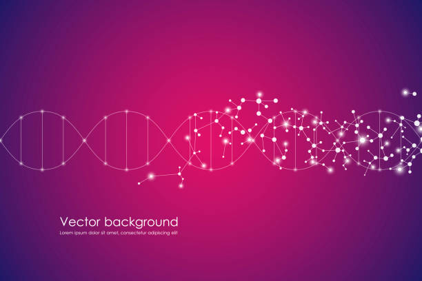 abstract molecule background, genetic and chemical compounds, connected lines with dots, medical, technological and scientific concept, vector illustration - dna stock illustrations, clip art, cartoons, & icons