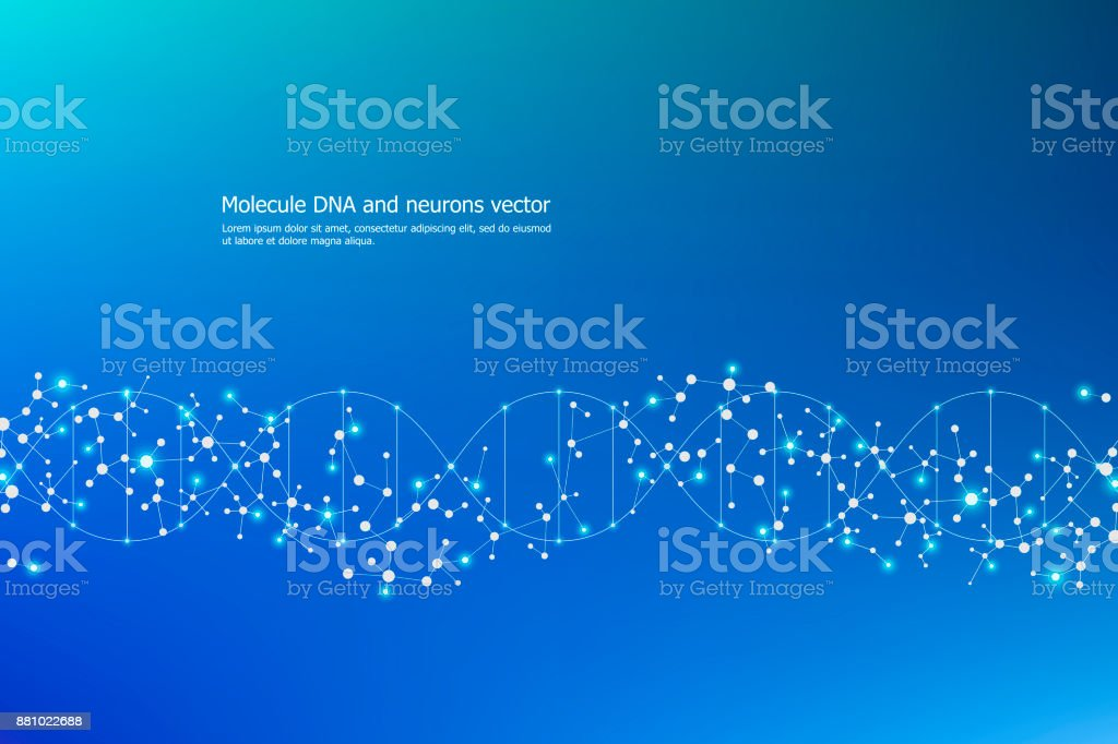 Abstract molecule background, genetic and chemical compounds, connected lines with dots, medical, technological and scientific concept, vector illustration - illustrazione arte vettoriale