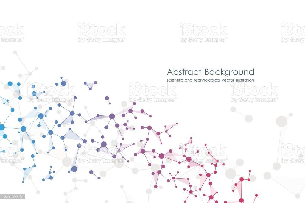 Fundo abstrato molécula, compostos químicos e genéticos, médicos de tecnologia ou ilustração vetorial de conceito científico - ilustração de arte em vetor