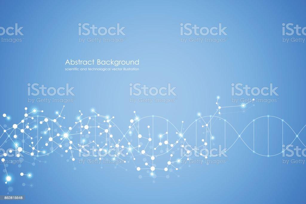 Fondo abstracto de la molécula, compuestos químicos y genéticos, médicos, tecnología o ilustración de vector de concepto científico - ilustración de arte vectorial