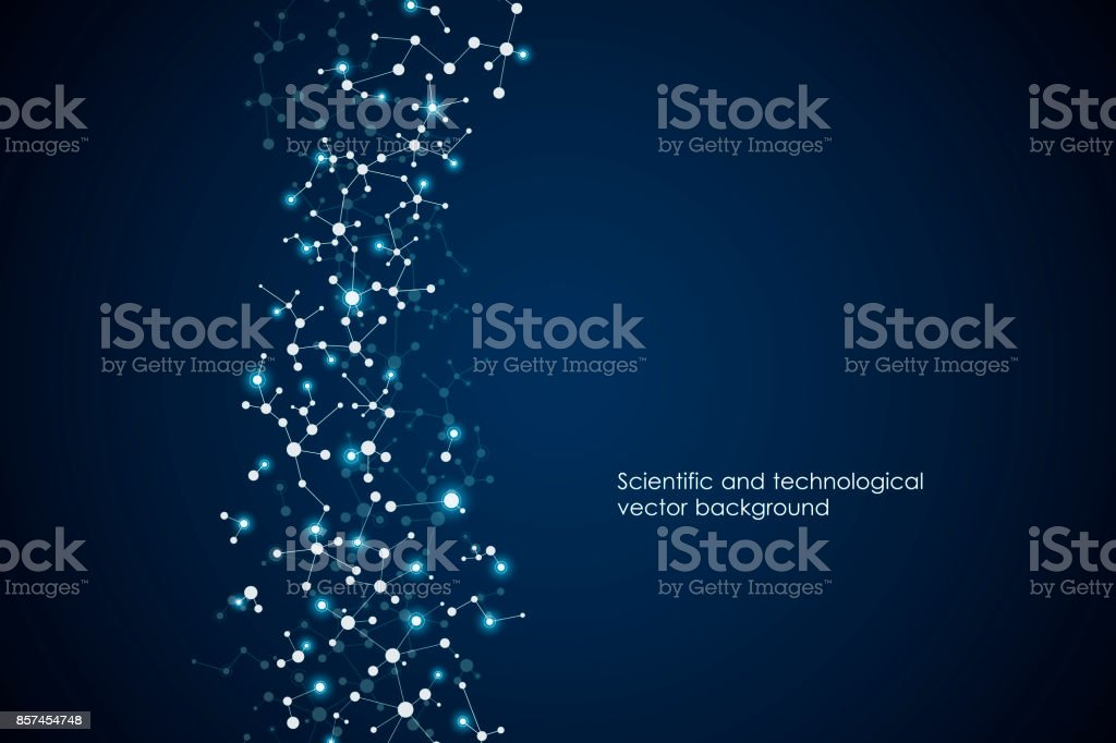 Abstract molecule background, genetic and chemical compounds, medical, technology or scientific concept vector illustration vector art illustration