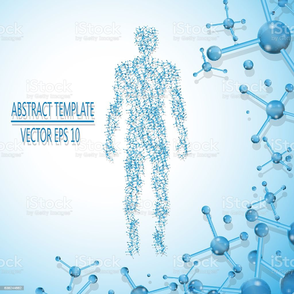 Abstract molecule based human figure concept vector art illustration