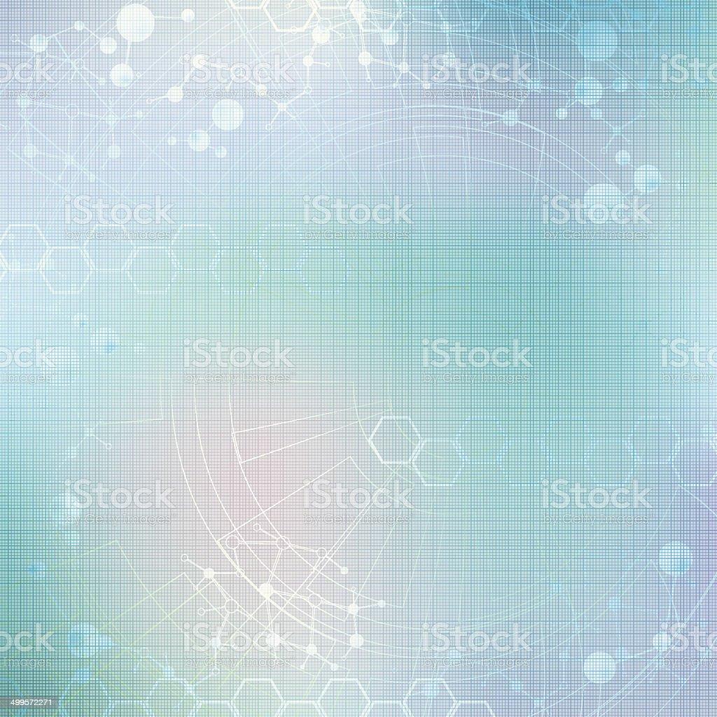 Abstract molecule blue green background vector art illustration