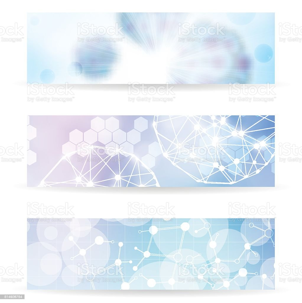 Abstract molecule blue purple colors background banner set vector art illustration