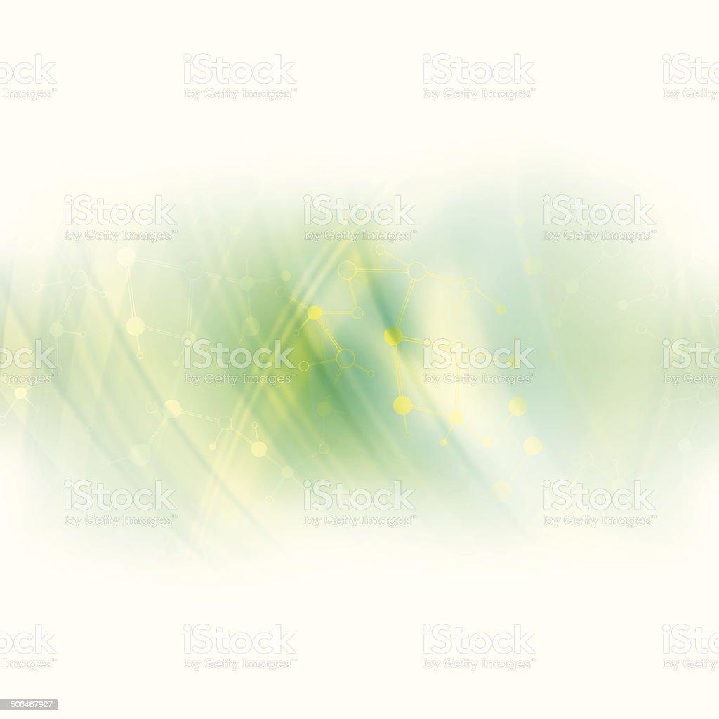 Abstract molecule green background vector art illustration