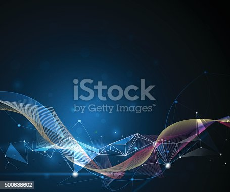 Illustration Abstract Molecules and 3D Mesh with Circles, Lines, Geometric, Polygonal, Triangle pattern. Vector design communication technology on blue background. Futuristic- digital technology concept