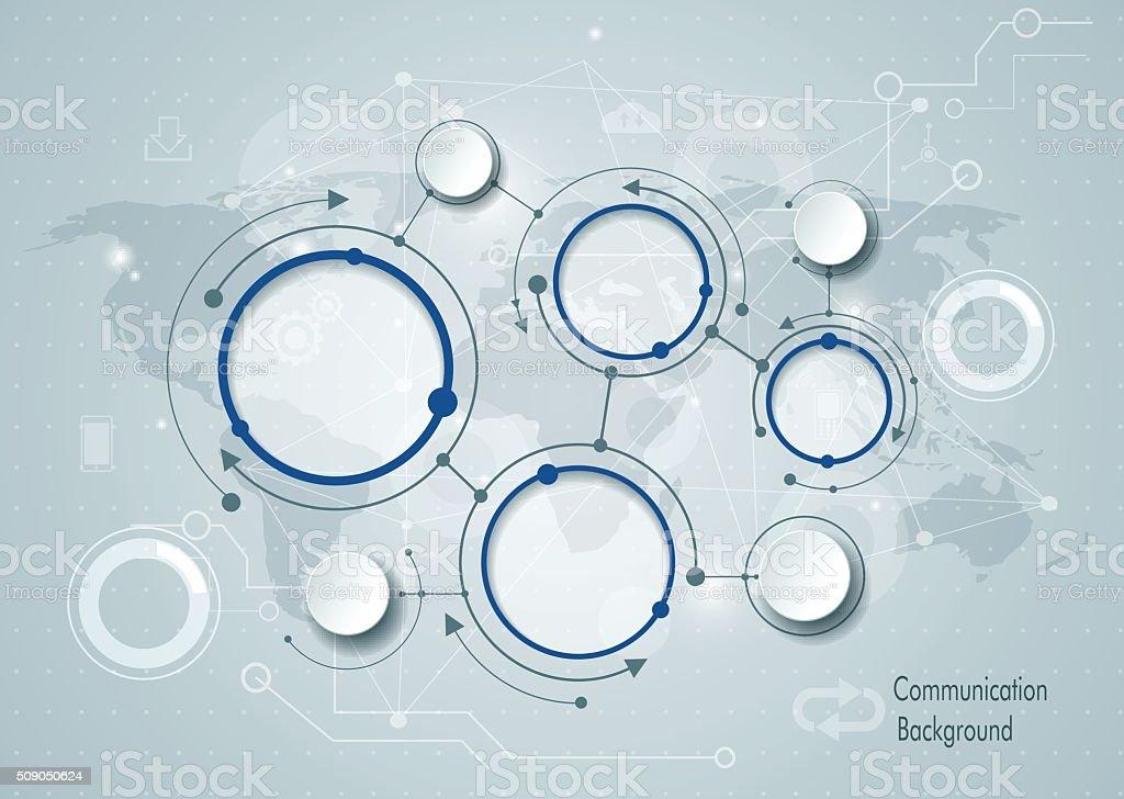 Abstract molecules and global social media communication vector art illustration