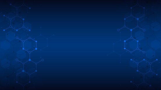 Abstract molecules background. Molecular structures or chemical engineering, genetic research, innovation technology. Scientific, technical or medical concept