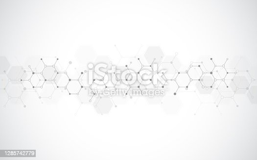istock Abstract molecules background. Molecular structures or chemical engineering, genetic research, innovation technology. Scientific, technical or medical concept. 1285742779
