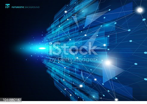 Abstract molecules blue virtual technology concept futuristic digital with linear and polygonal pattern shapes background with space for your text. Vector illustration