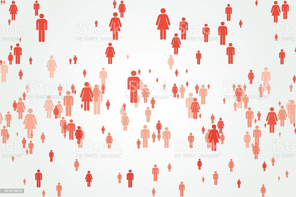 Abstract monochromatic crowd vector art illustration