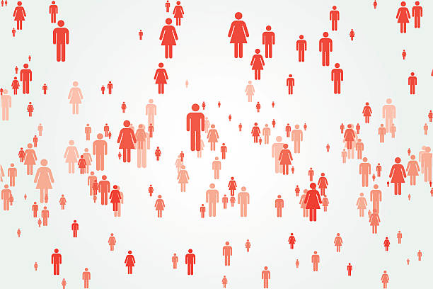 Abstract monochromatic crowd vector art illustration