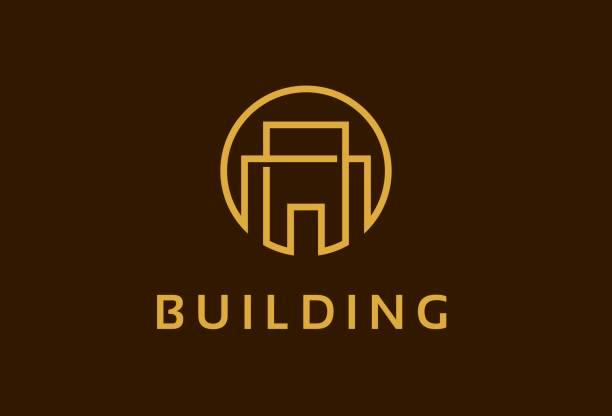ilustraciones, imágenes clip art, dibujos animados e iconos de stock de resumen monograma edificio propiedad símbolo plantilla diseño vector, emblema, concepto, símbolo creativo, icono de diseño - nueva casa