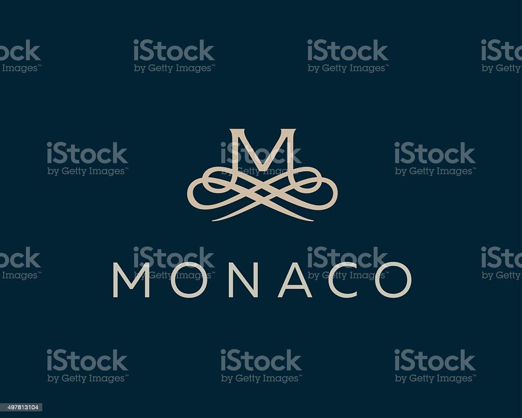 Tło Z Monogramem Eleganckie Kwiat Logo Premium Litera M Inicjały
