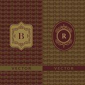 Vector illustration of Abstract Monogram graceful template. Seamless pattern background. Calligraphic elegant logo design. Letter emblem sign B, R. Fashion universal decorative label.