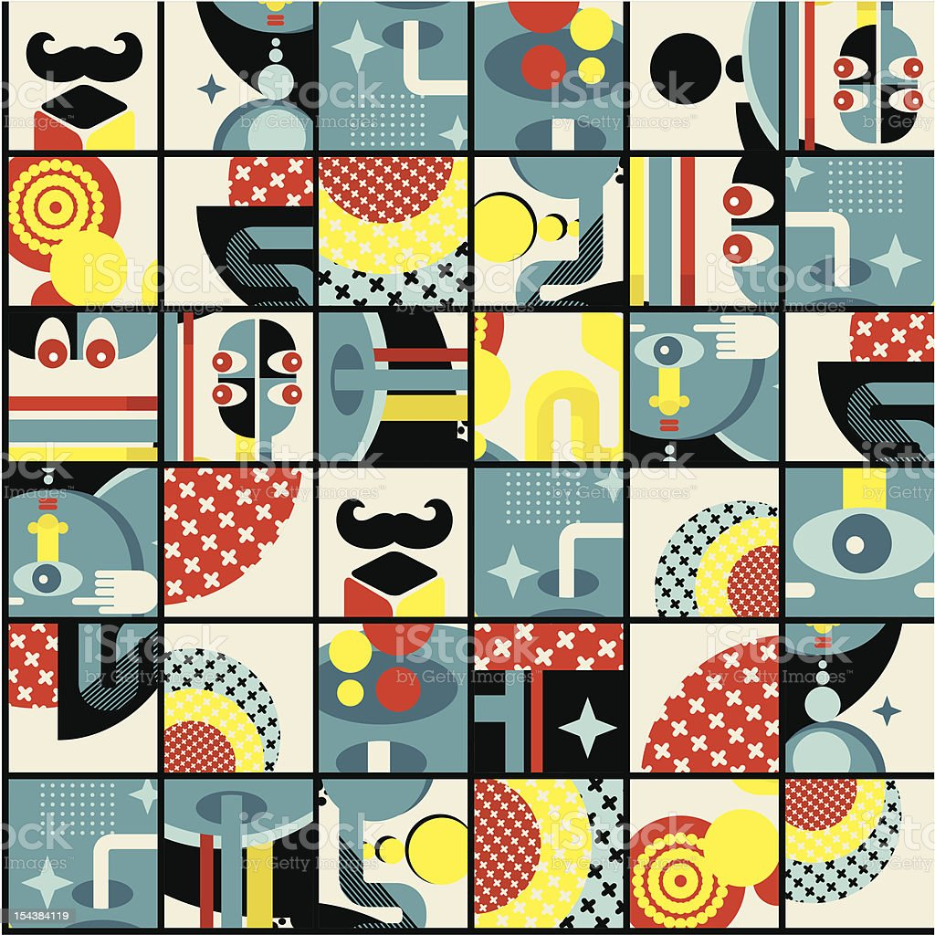 Abstract monsters pattern. royalty-free stock vector art