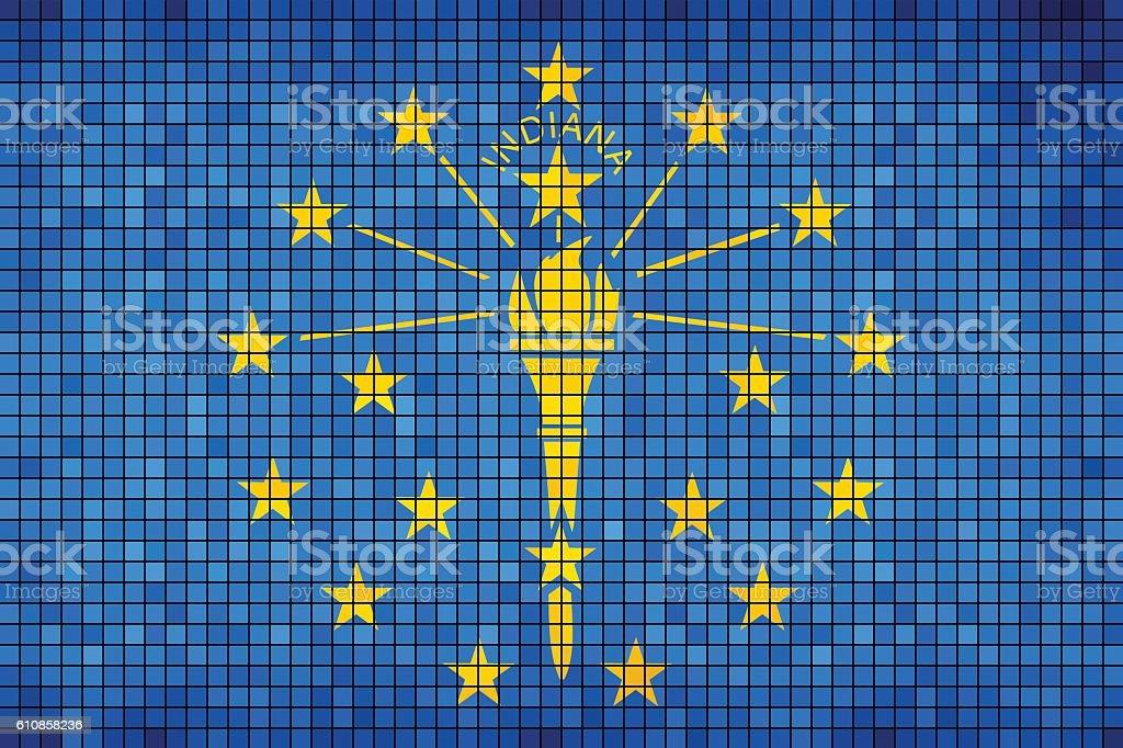 Abstract Mosaic flag of Indiana - ilustração de arte em vetor