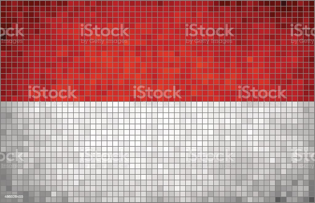 Abstract Mosaic Flag of Indonesia vector art illustration